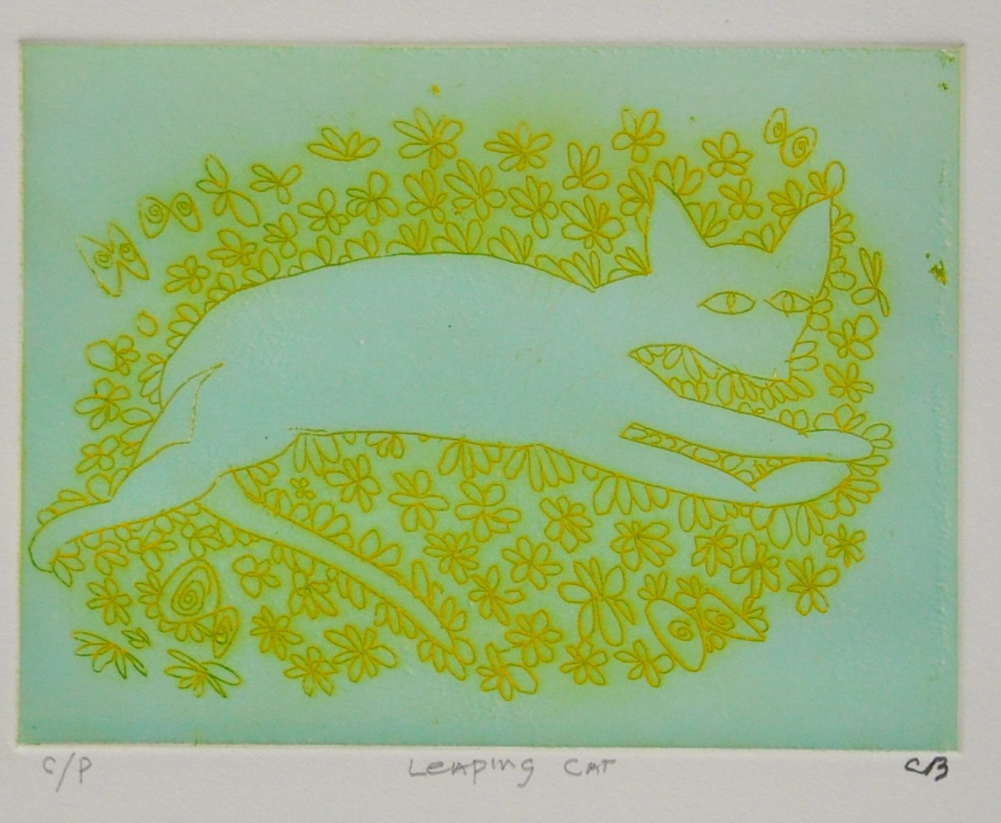 Leaping Cat (colour proof)